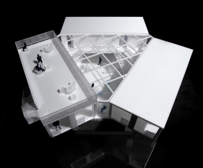 макет треугольного дома из контейнеров